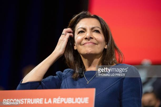 French Socialist Party candidate for the April 2022 presidential election Anne Hidalgo looks on at the end of her speech during her formal...