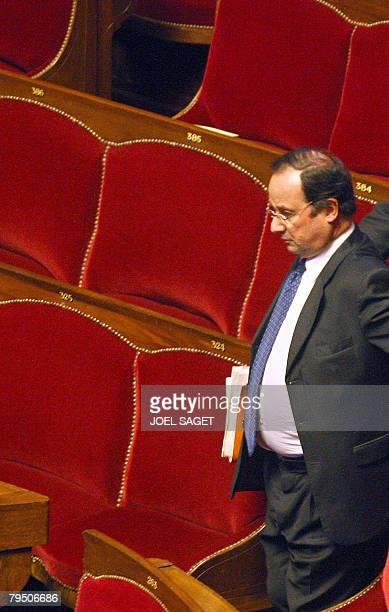 French socialist party first secretary Franois Hollande arrives on February 4 2008 at Versailles castle west of Paris where French parliament members...