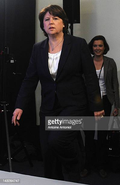 French Socialist Party first secretary Martine Aubry arrives to speak after the results of the first round of the 2012 French Presidential election...