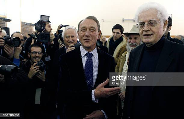 French socialist party Mayor of Paris Bertrand Delanoe and former Prime Minister of France Lionel Jospin attend a campaign meeting of the PS...