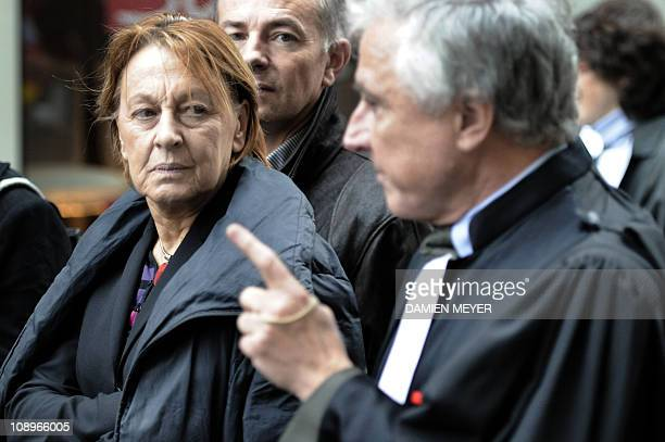 French Socialist Party MP and former Justcie Minister Marylise Lebranchu listens to a French magistrate on strike during a demonstration on February...