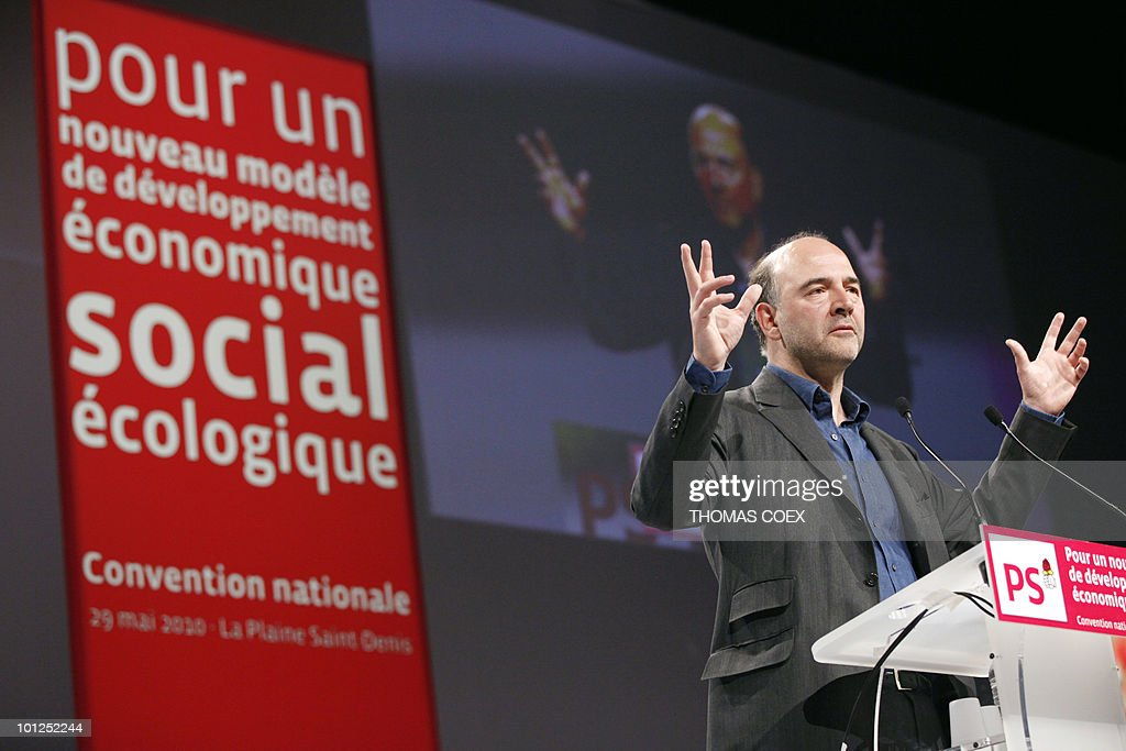French socialist party national secretary and deputy Pierre Moscovici delivers on May 29, 2010 in La plaine Saint Denis, outside Paris, a speech to open the French Socialist Party national convention, dedicated to a 'new model of development' project he headed. Socialist party leader Martine Aubry said today that 'real work begins' for the 2012 presidential election.