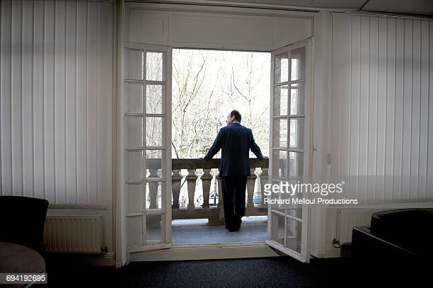 French Socialist Party presidential candidate François Hollande at his headquarters during the presidential campaign Paris 30th March 2012