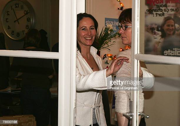 French Socialist Party presidential candidate Segolene Royal and Royal's Press Officer Agnes Longueville come through a door at the Socialist Party...