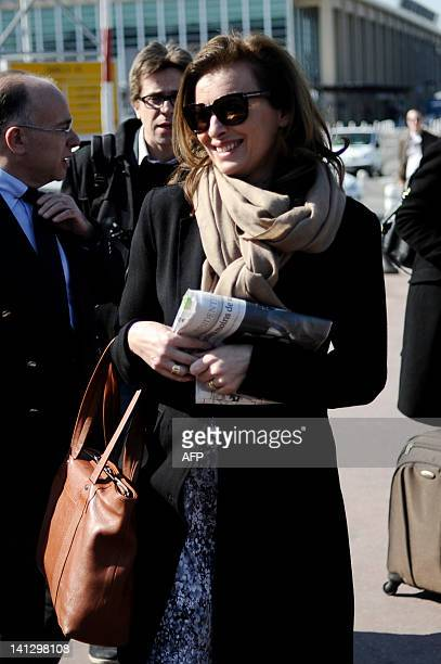French Socialist Party 's presidential candidate companion, Valerie Trierweiler walks upon her arrival at Marignane airport, outside Marseille, prior...