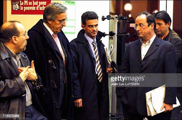 French Socialist Party Secretary Francois Hollande Receives The Mayors Of Paris Suburban Towns At His Head Office On November 11Th 2005 In Paris...