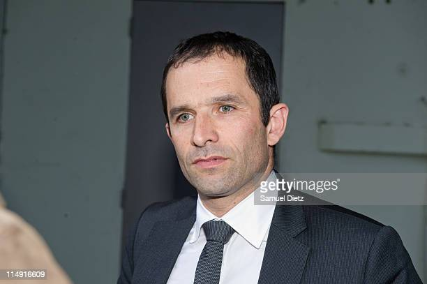 French Socialist Party spoke person Benoit Hamon addresses the medias after the French Socialist Party National Convention on May 28 2011 in Paris...