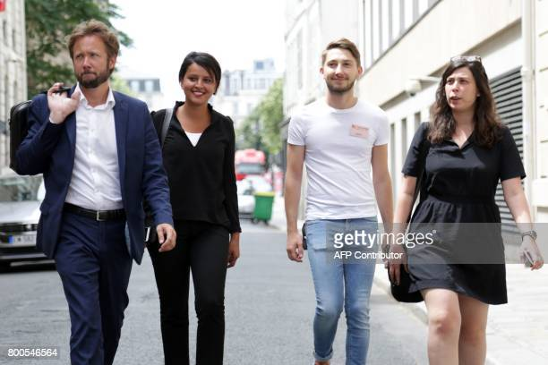 French Socialist Party's former minister Najat VallaudBelkacem arrives to take part in the party's national council behind closd doors on June 24...