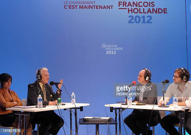 French Socialist party's member Constance Rivière, French jurist Guy Carcassonne, French journalists Pierre Lescure and Lionel Bordeaux attend the...
