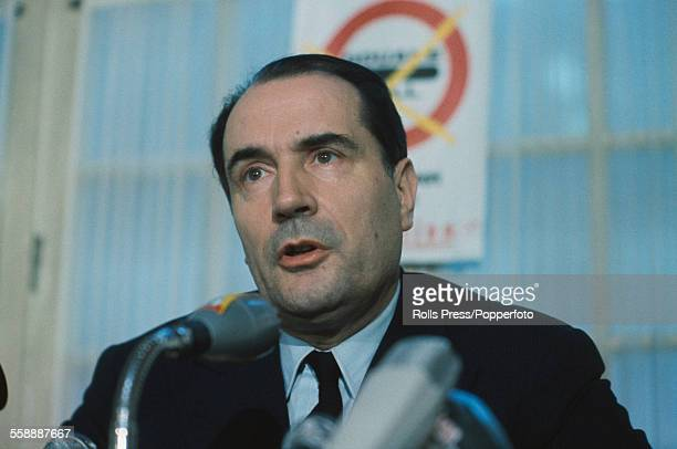 French socialist politician and leader of the Federation of the Democratic and Socialist Left Francois Mitterrand pictured at a press conference in...