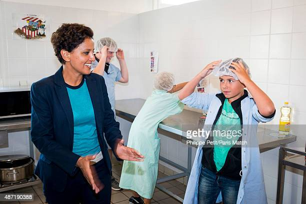 French Socialist politician and Minister of Education Najat Vallaud Belkacem is photographed for Paris Match visiting JeanRostand school in Le Cateau...