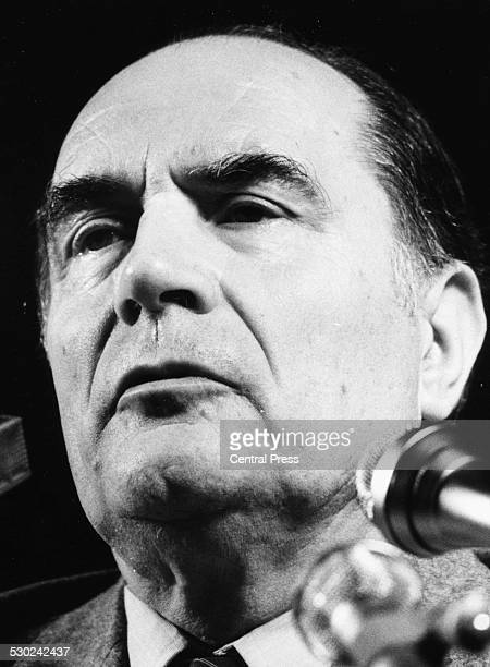 French Socialist politician Francois Mitterand speaking at a press conference as part of his presidential campaign April 7th 1981