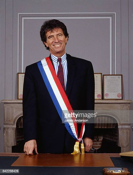 French socialist politician Jack Lang wearing the French tricolour sash in his newly appointed role as Mayor of Blois