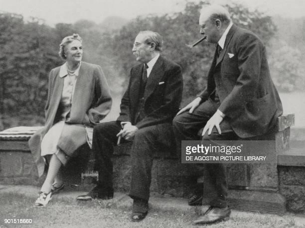 French socialist politician Leon Blum visiting Winston Churchill in 1939 Westerham United Kingdom from L'Illustrazione Italiana Year LXVII No 43...
