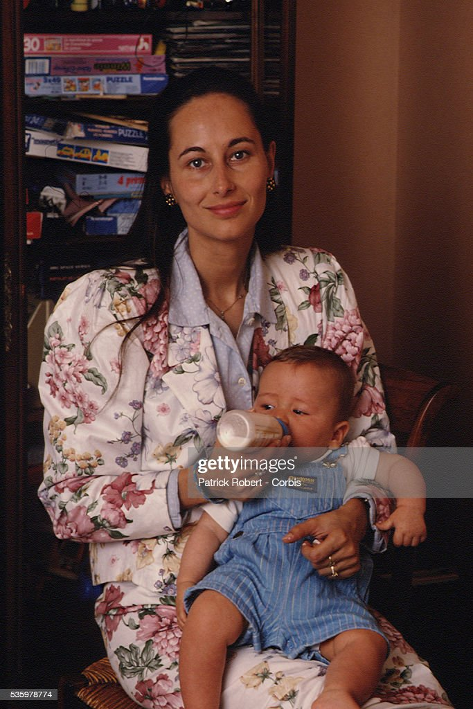 French socialist politician Segolene Royal at home with her son Julien (1), she had with François Hollande.