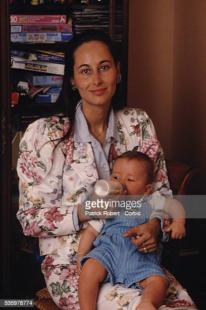 French socialist politician Segolene Royal at home with her son Julien she had with François Hollande