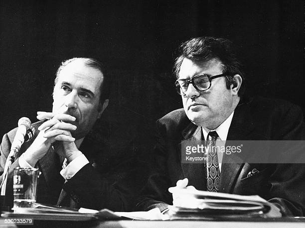 French Socialist politicians Francois Mitterand and Pierre Mauroy at a National Socialist Party Convention circa 1970