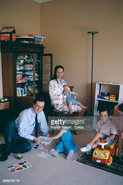 French socialist politicians Segolene Royal and husband Francois Hollande at home with their three young children Thomas Clemence and Julien