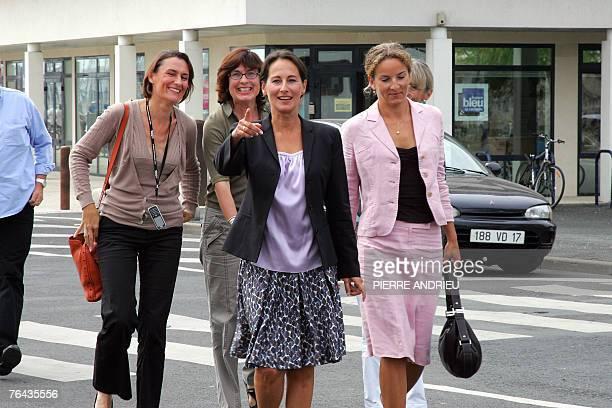 French socialist president of the PoitouCharentes region Segolene Royal arrives with her press officer Agnes Longueville and her successor deputy for...