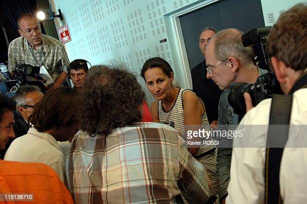 French socialist presidential candidate Segolene Royal at the fete de la rose in Lorgues France on May 28 2006 Answering questions from Journalists