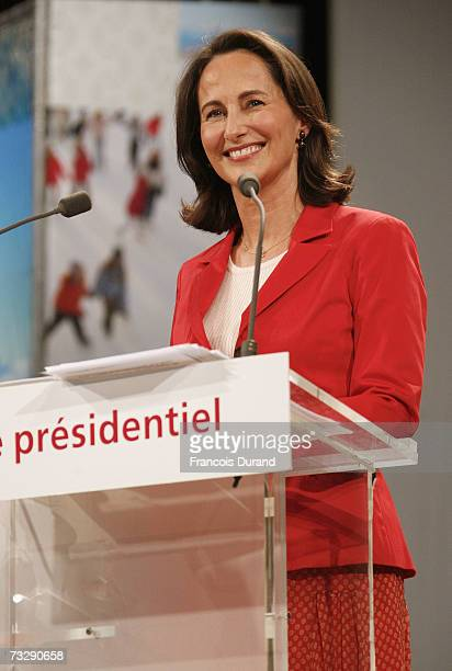 French socialist presidential candidate Segolene Royal makes a speech announcing her political agenda for the forthcoming election campaign on...