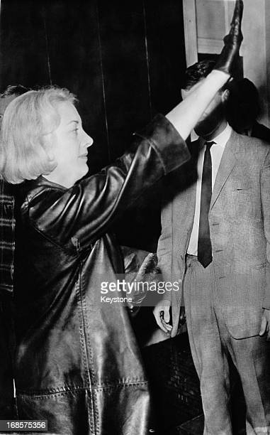 French socialite Francoise Dior gives the Nazi salute after her wedding to British NeoNazi Colin Jordan Coventry 7th October 1963 Dior the niece of...