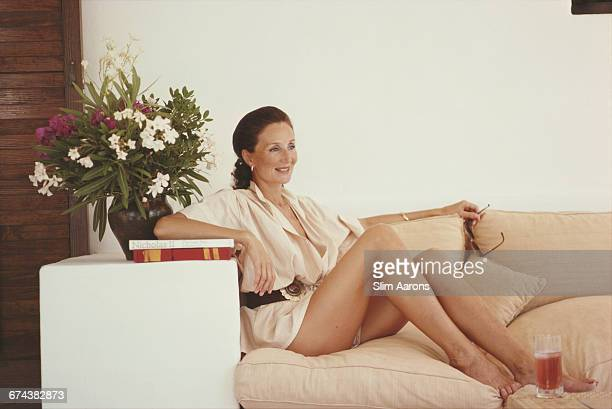 French society hostess and fashion designer Viscountess Jacqueline de Ribes relaxing at her home in Ibiza Spain September 1978