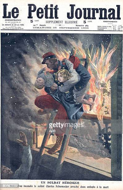 french soldier Charles Schumacker rescuing two children from the fire of a wood workshop in Paris frontpage of newspaper Petit Journal september 26...
