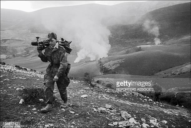 French soldier with a missile launcher 'Operation Bigeard' in March 1956 when an armed outbreak in SoukAhras South of Constantine region Algeria led...