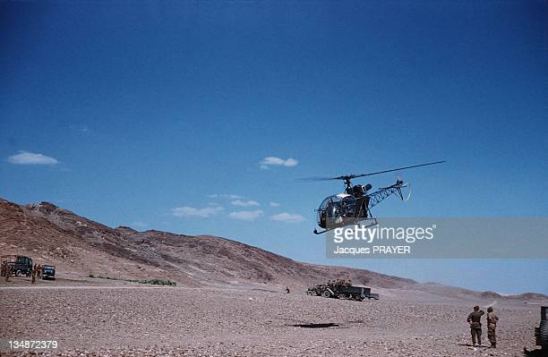 French soldiers and helicopters during an operation near Batna during the Algerian war in Algeria in 1961