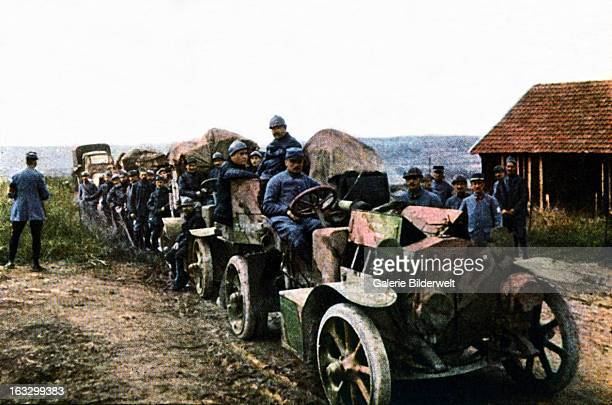French soldiers and vehicles of the mobile air defense during the Battle of Verdun September 1916 Western Front World War I France Autochrome Lumière...