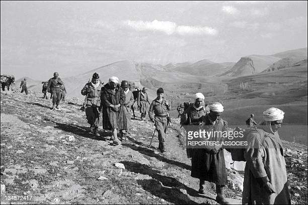 French soldiers and war prisoners during 'Operation Bigeard' in March 1956 when an armed outbreak in SoukAhras South of Constantine region Algeria...