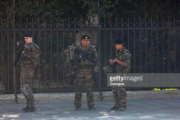 French soldiers at Notre Dame De Paris