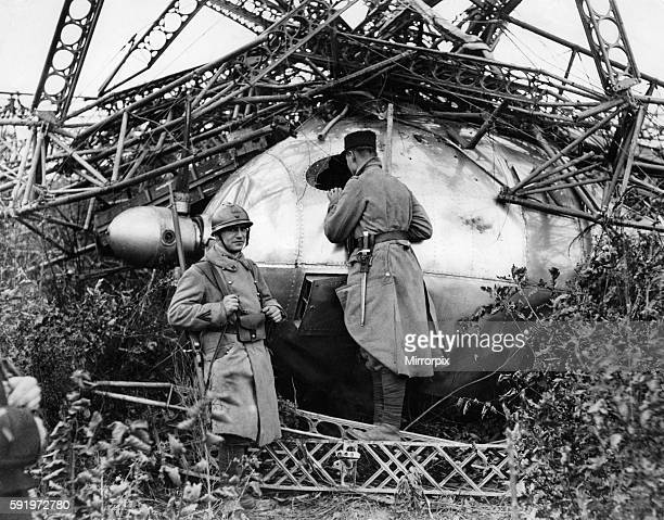 French soldiers at the scene of the crash of the British airship R101 in the French village of Beauvais October 1930 P004019