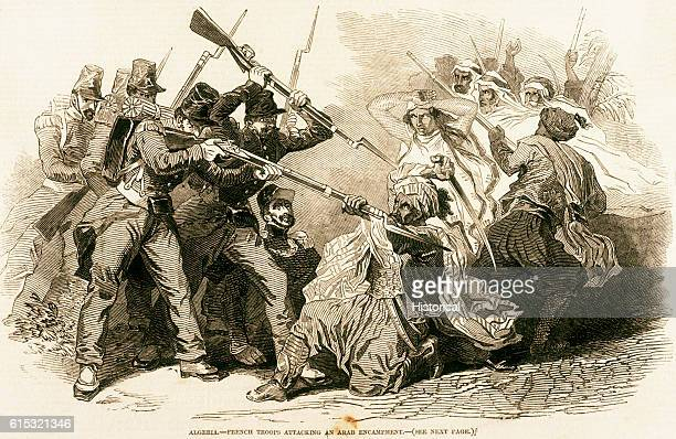 French soldiers attacking a group of Arabs, Algeria, ca. 1846.