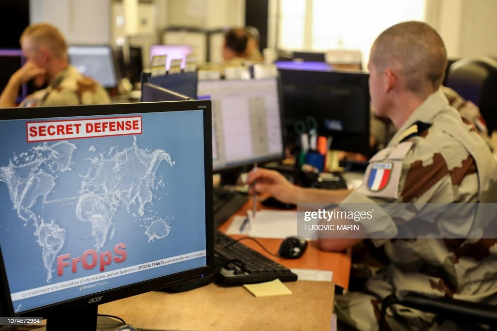 French soldiers coordinate military operations from the monitoring