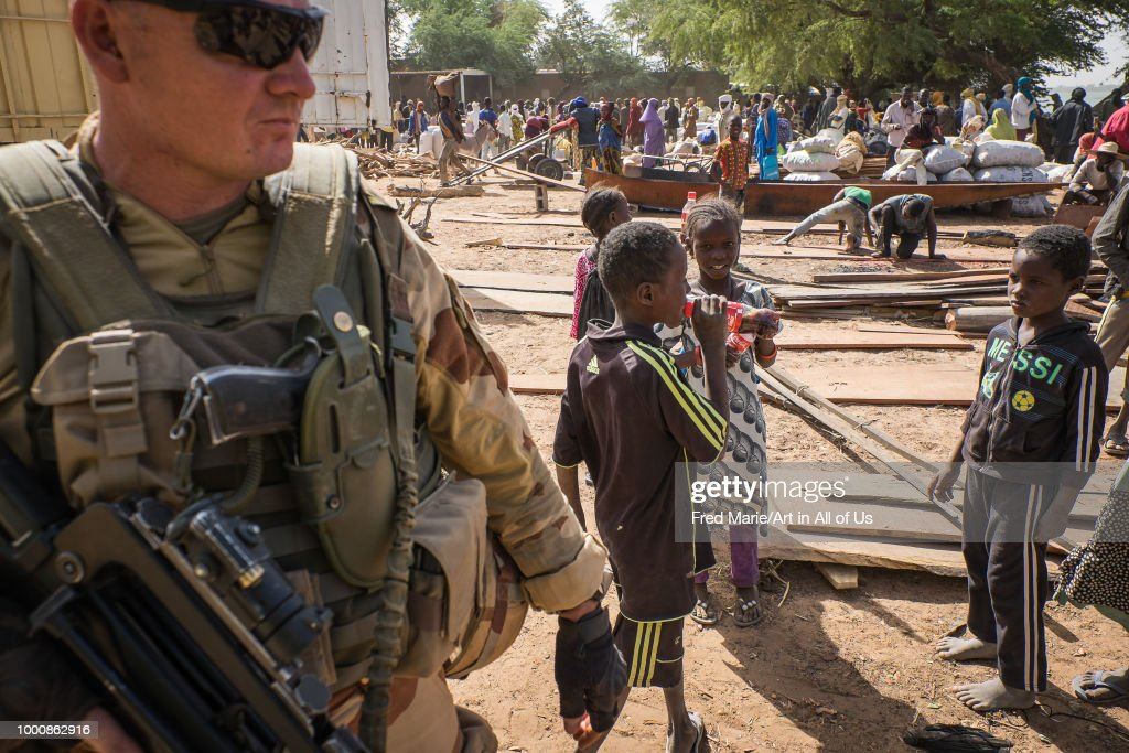 French soldiers from barkhane military operation in Sahel, Africa during a patrol in Mali. They fight against terrorism in the area. : News Photo