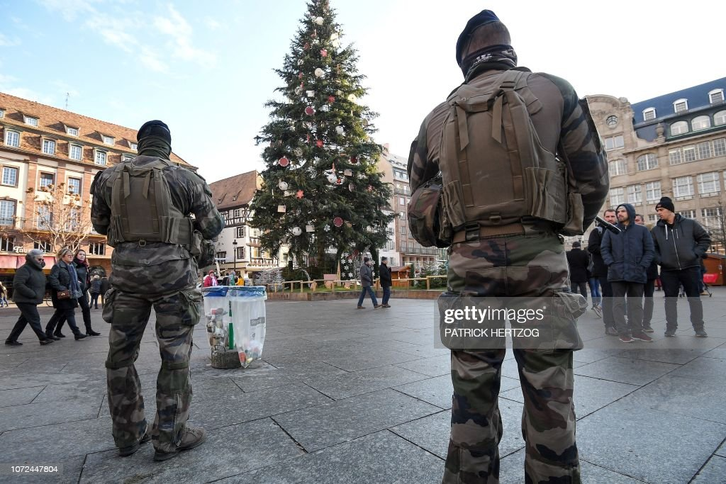 French Soldiers From The Sentinelle Security Operation Stand Guard