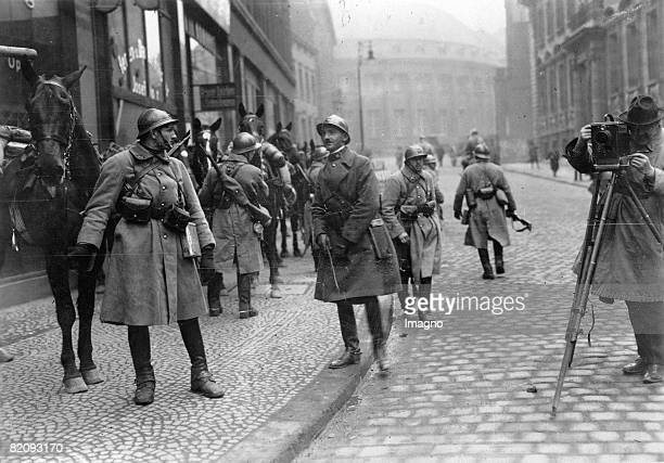 French soldiers in Essen at the occupation of the Ruhr district by french troups Photograph Germany 1923 [Franzsiche Soldaten in Essen bei der...