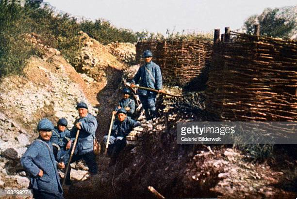 French soldiers in front of the Voevre September 1916 Battle of Verdun Western Front World War I France Autochrome Lumière Photo Jules...