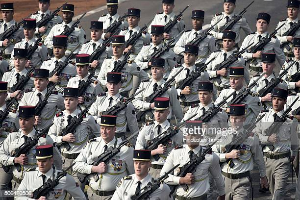 French soldiers march past during a full dress rehearsal of the Republic Day Parade on January 23 2016 in New Delhi India Annual parade is held at...