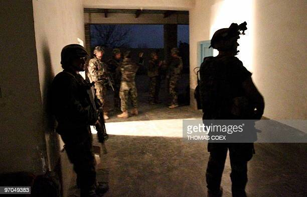 French soldiers of the 21st RIMA secure the FrenchBritish base after a RPG attack during the night in Showal Southern Afghanistan in Helmand province...