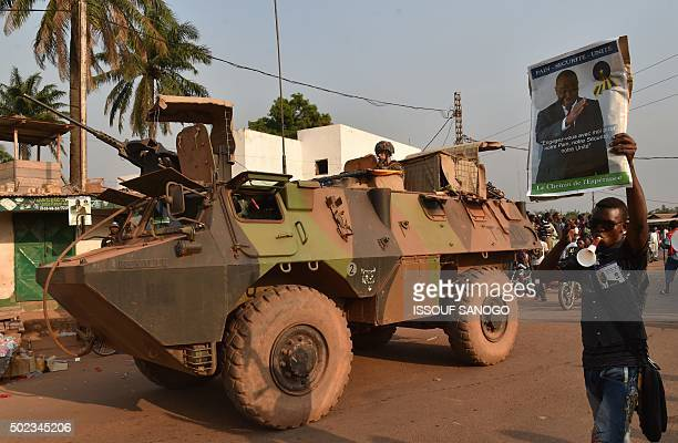French soldiers of the Sangaris operation the military intervention in Central African Republic patrol in the PK5 Muslim district in Bangui on...