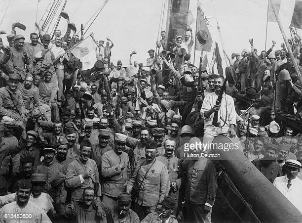 French soldiers on a transport boat bound for Gallipoli. The battle between Allied forces and Turkish forces at the Gallipoli Peninsula for access to...