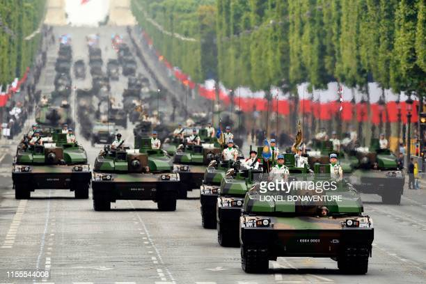 TOPSHOT French soldiers parade in Leclerc tanks during the Bastille Day military parade down the ChampsElysees avenue in Paris on July 14 2019