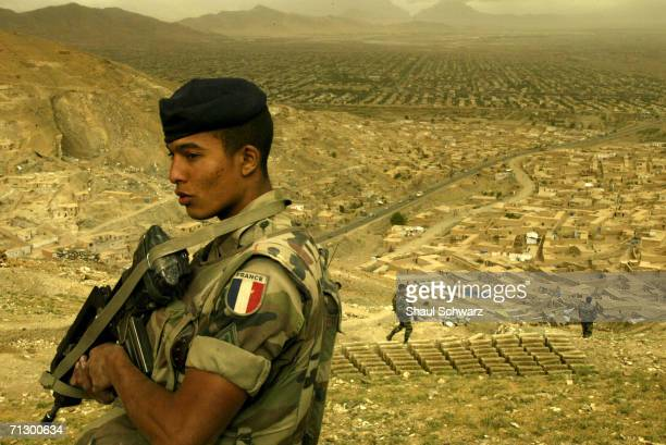 French soldiers patrol the hills north of Kabul City on April 29 2004 in Kabul Afghanistan French contribute over 500 soldiers to ISAF the...