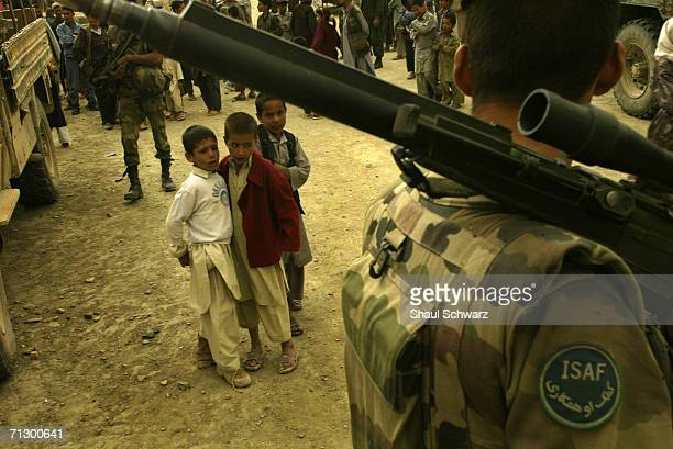French soldiers patrol the hills north of Kabul City on April 29 2004 in Kabul Afghanistan French contribute over 500 soldiers to ISAF the multi...