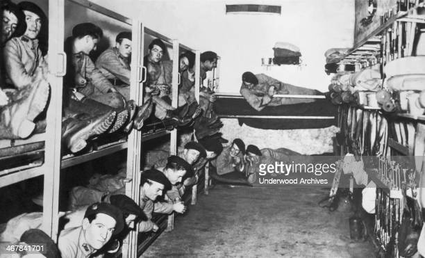 French soldiers resting in their bunk area deep underground on the Maginot Line France November 1939