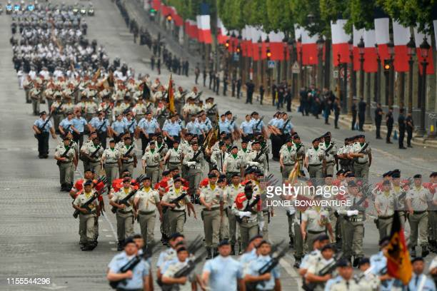 French soldiers take part in the Bastille Day military parade down the ChampsElysees avenue in Paris on July 14 2019
