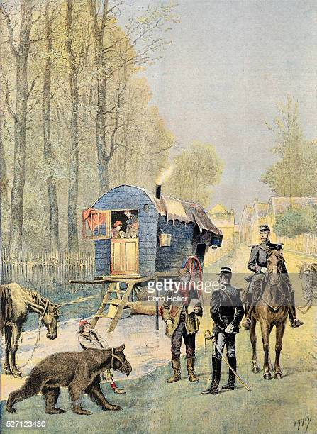 French Soldiers Undertaking Gypsy Census in Gypsy Camp with Caravan Dancing Bear France